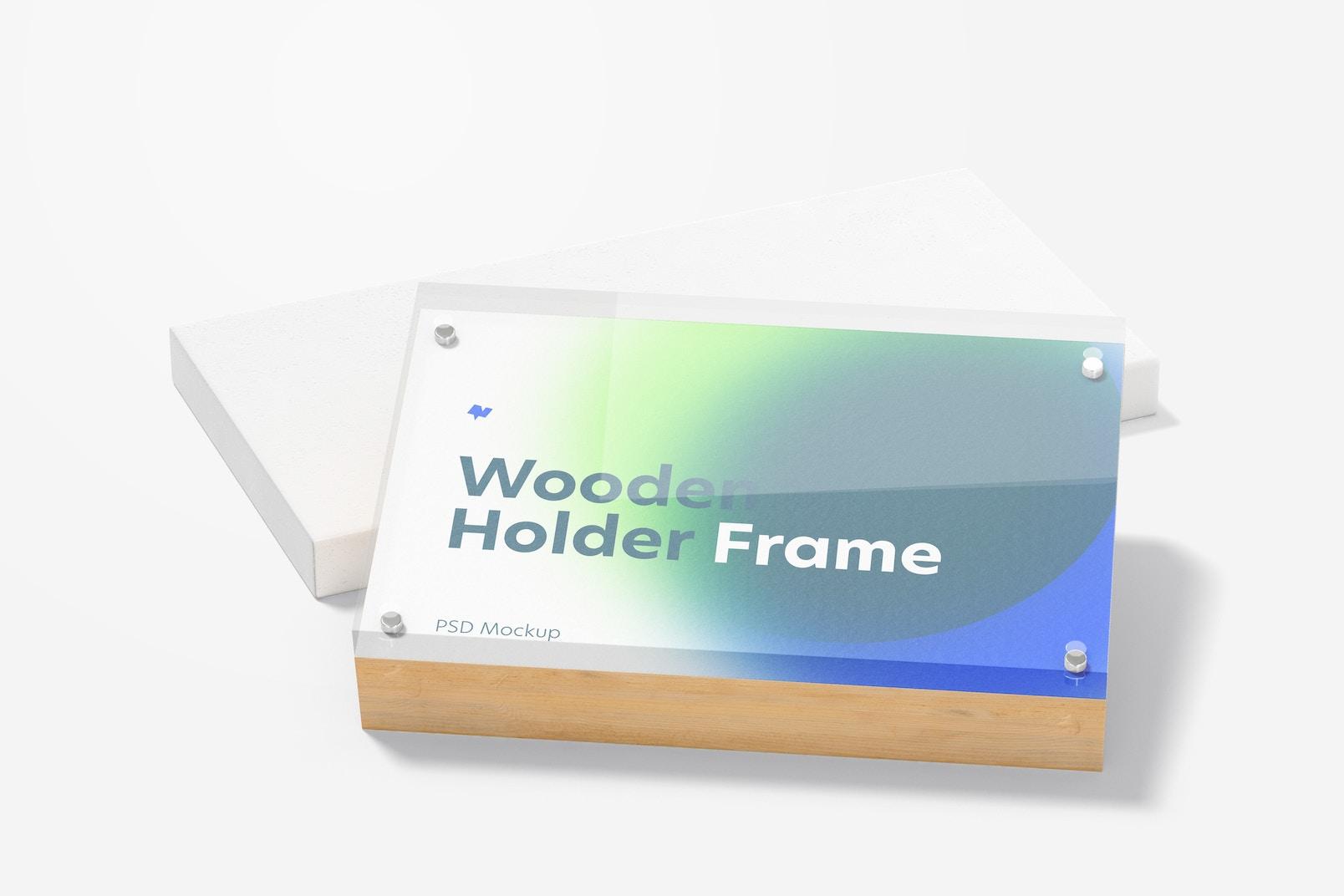 Wooden Label Holder Frame Mockup, Leaned