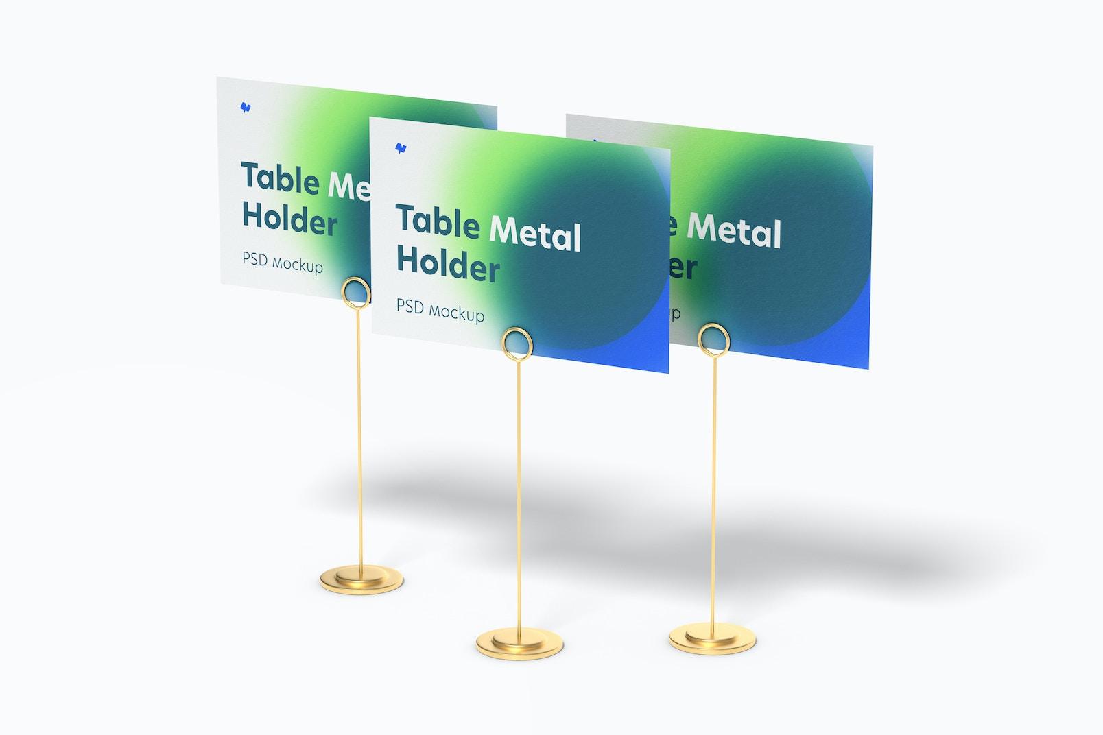 Table Stand Metal Sign Holders Set Mockup