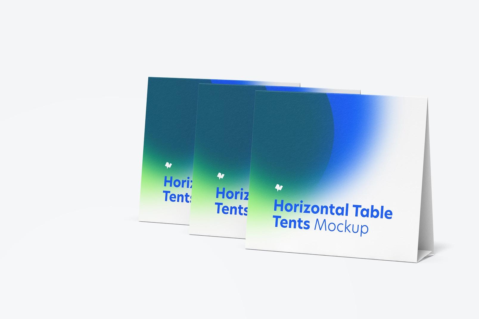 Horizontal Table Tent Cards Set Mockup