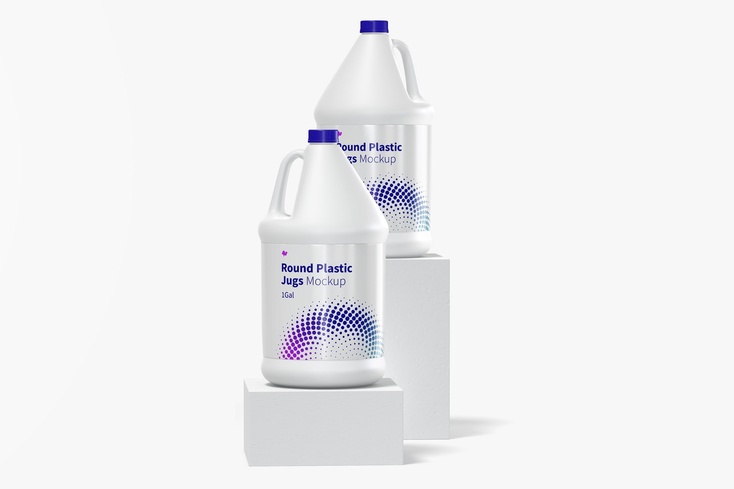 1 gal Round Plastic Jugs Mockup, Front View