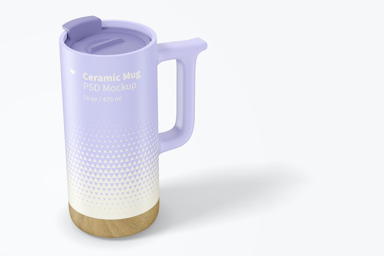 16 oz Ceramic Mug with Wood Base Mockup