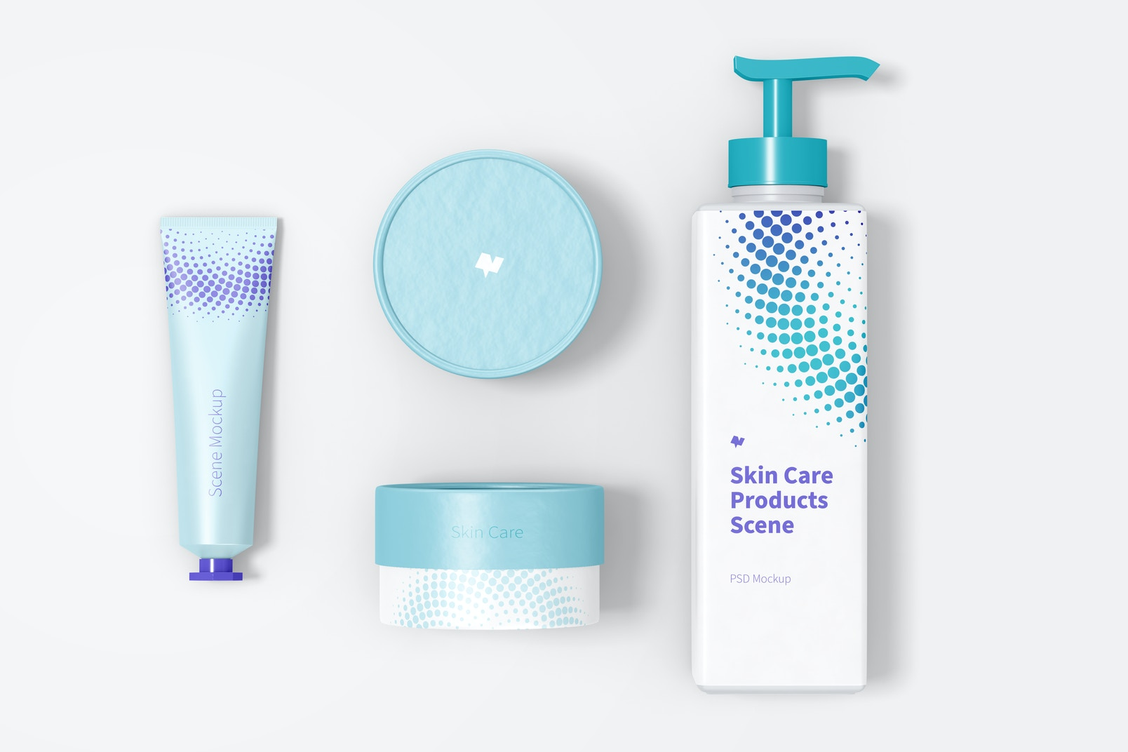 Skin Care Products Scene Mockup, Top View