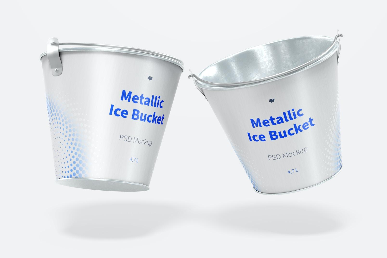 Metallic Ice Bucket Mockup, Falling