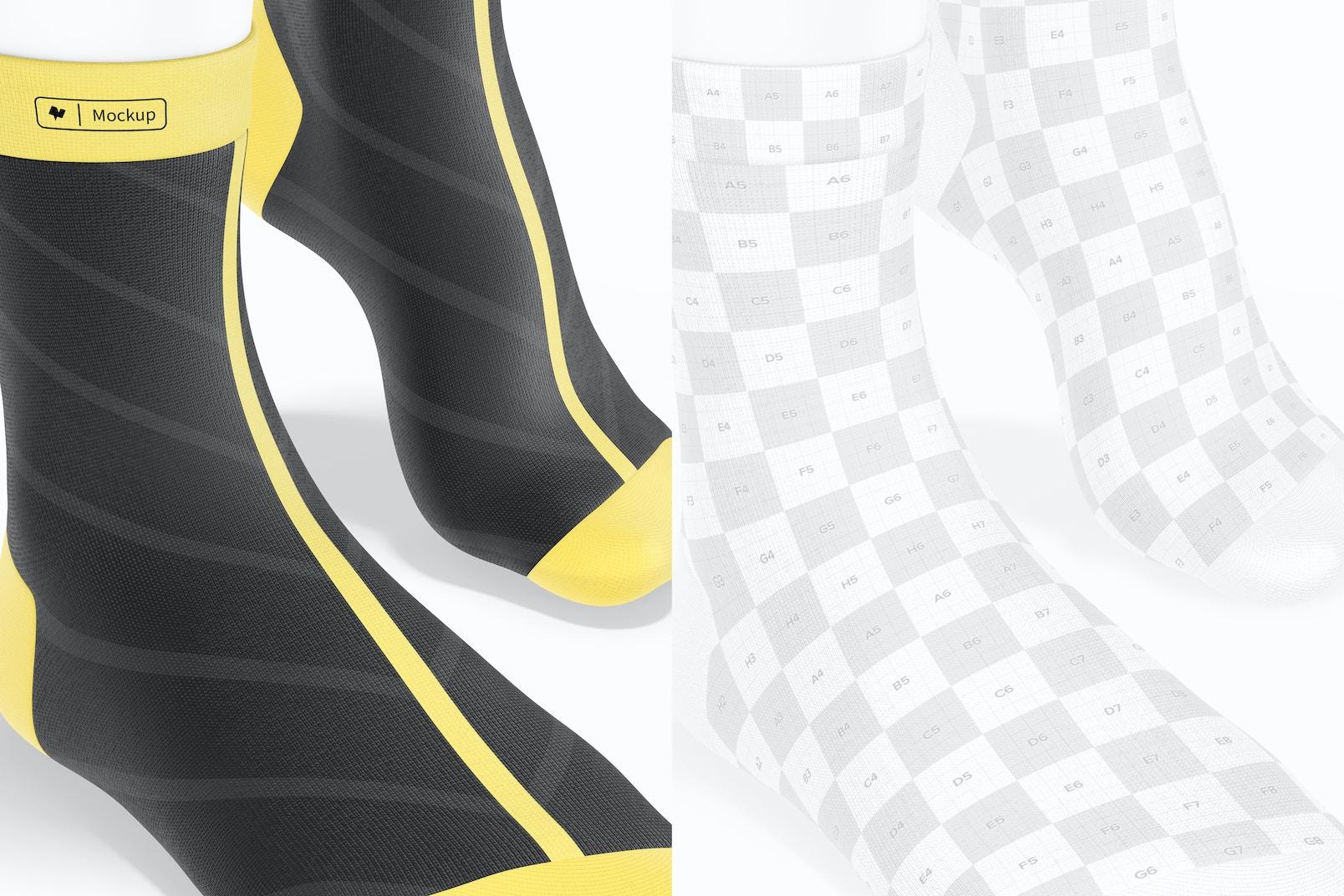 Sports Cycling Socks Mockup, Close Up