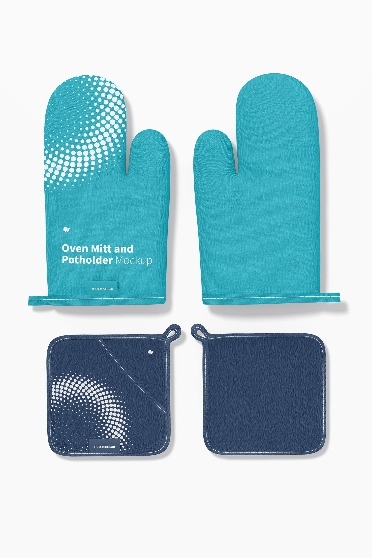 Oven Mitts and Potholders Mockup, Top View