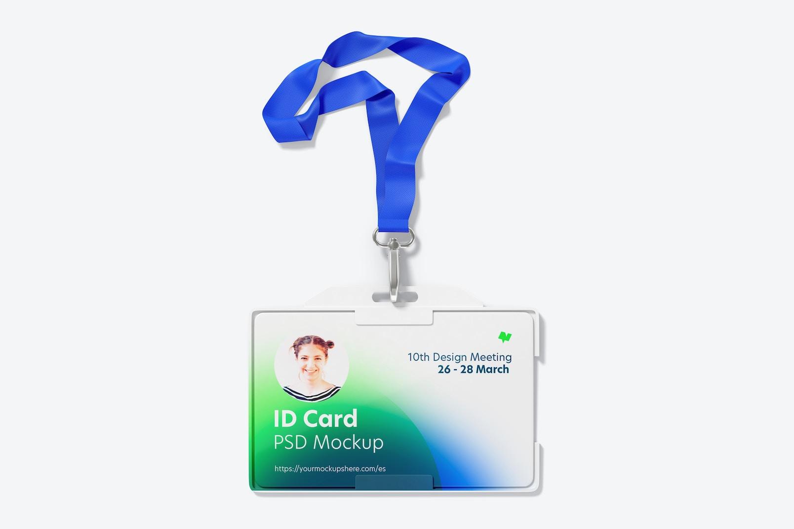 Horizontal ID Card with Lanyard Mockup