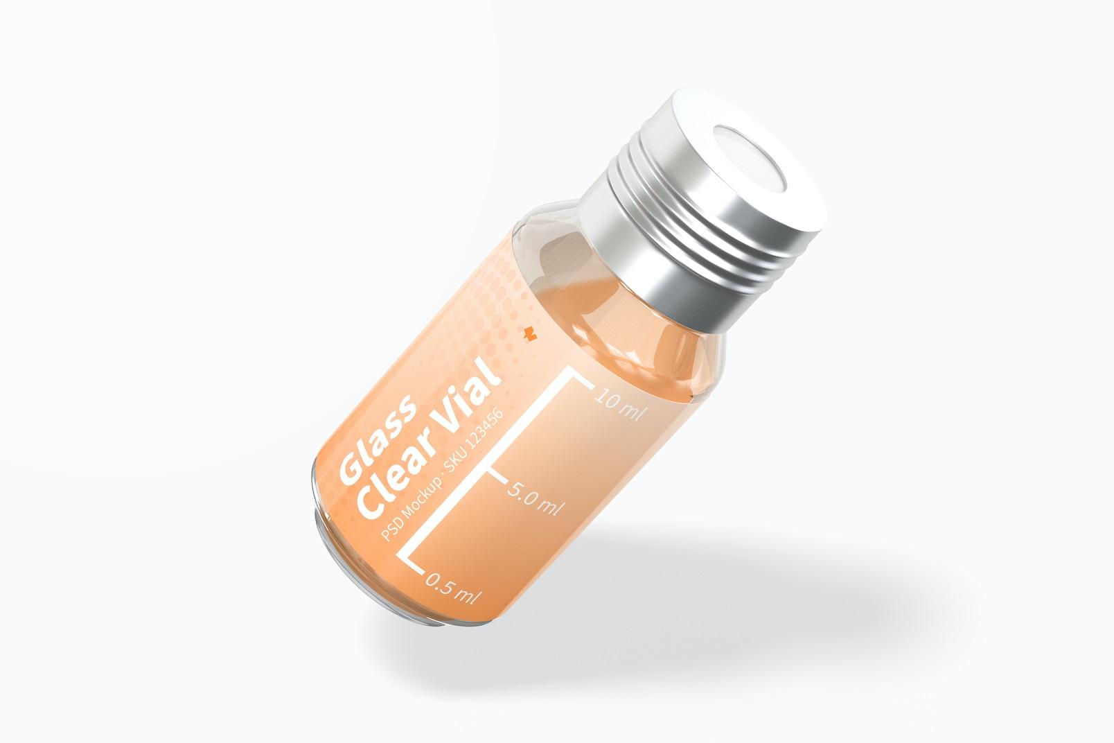 10 ml Glass Clear Vial Mockup, Leaned