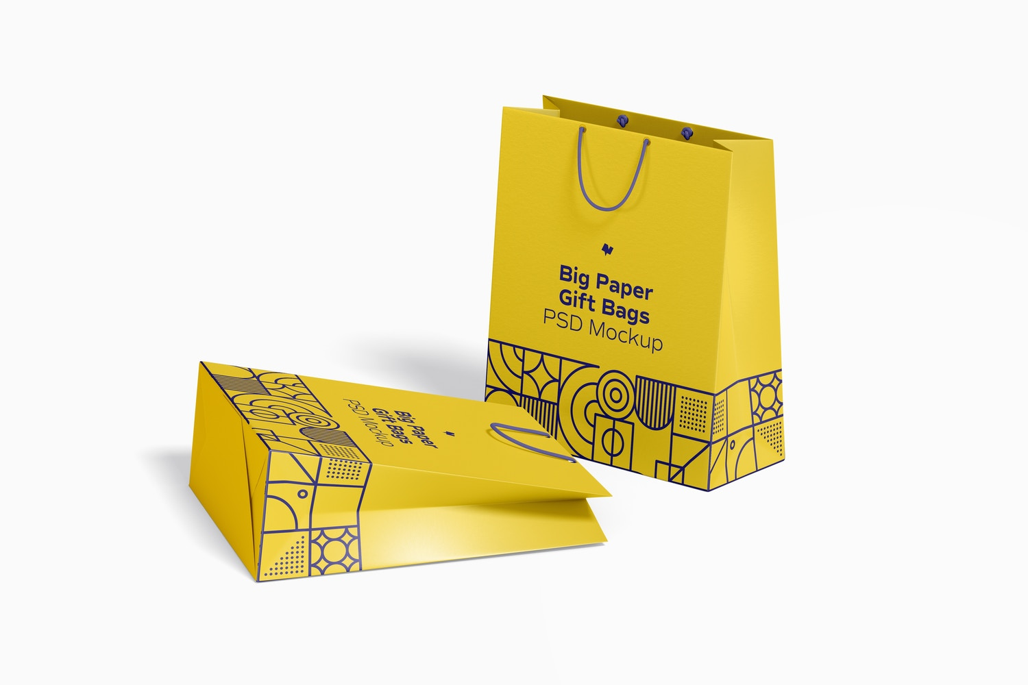 Big Paper Gift Bags With Rope Handle Mockup, Dropped