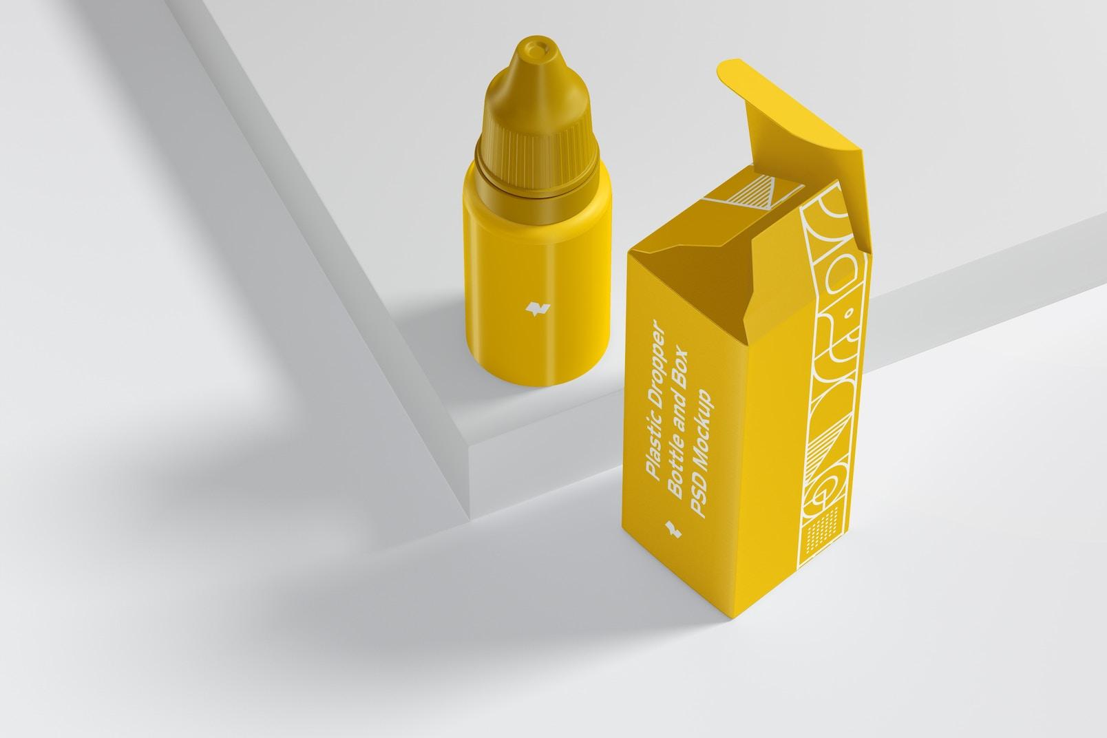 Maqueta de Botella Plástica con Gotero y Caja, Perspectiva