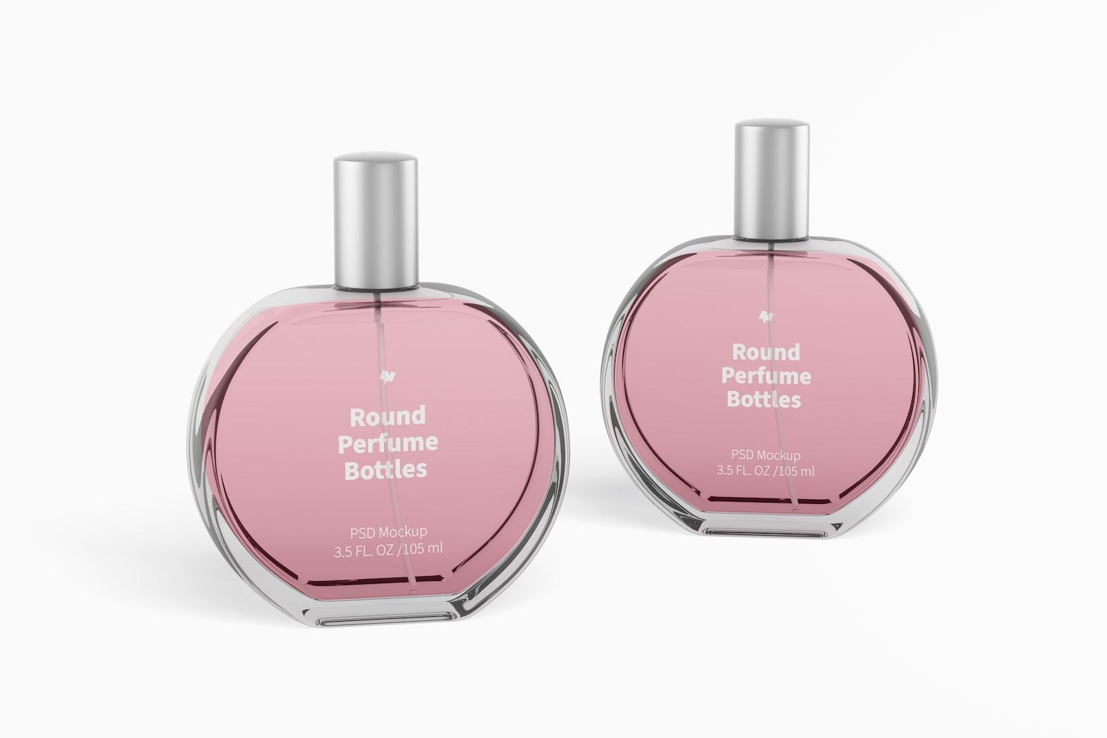 Round Perfume Bottles Mockup