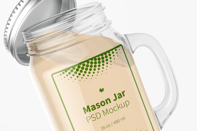 16 oz Mason Jar Mockup, Close Up