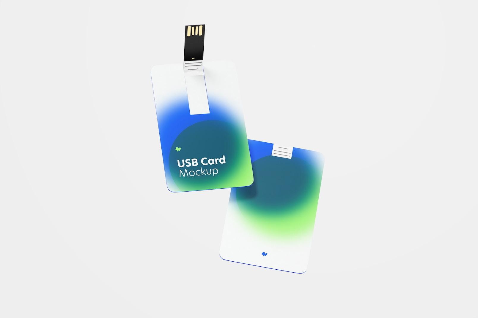 USB Cards Mockup, Floating
