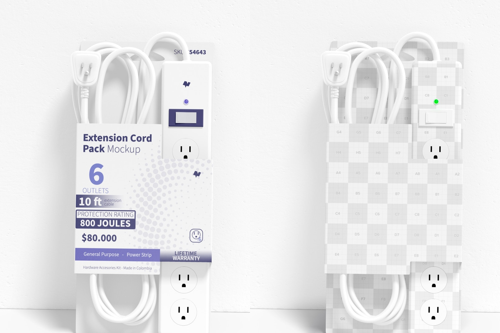 Extension Cord Pack Mockup, Leaned