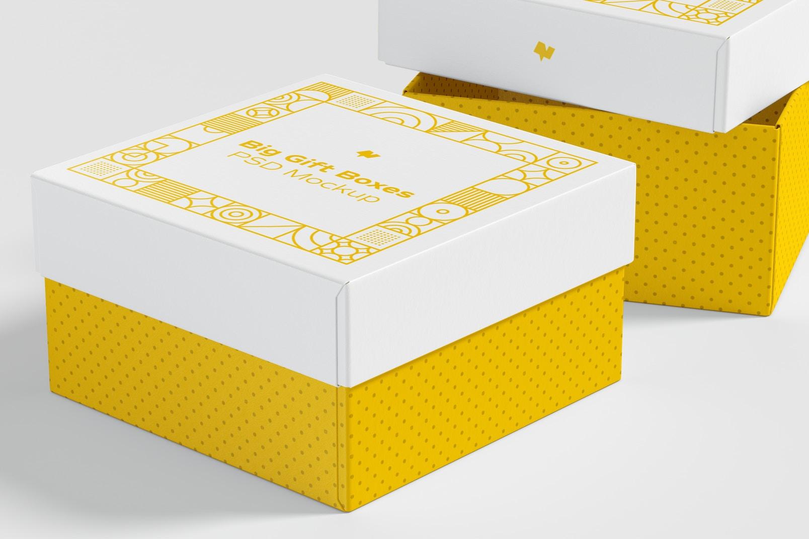 Big Gift Boxes Mockup, Close-Up