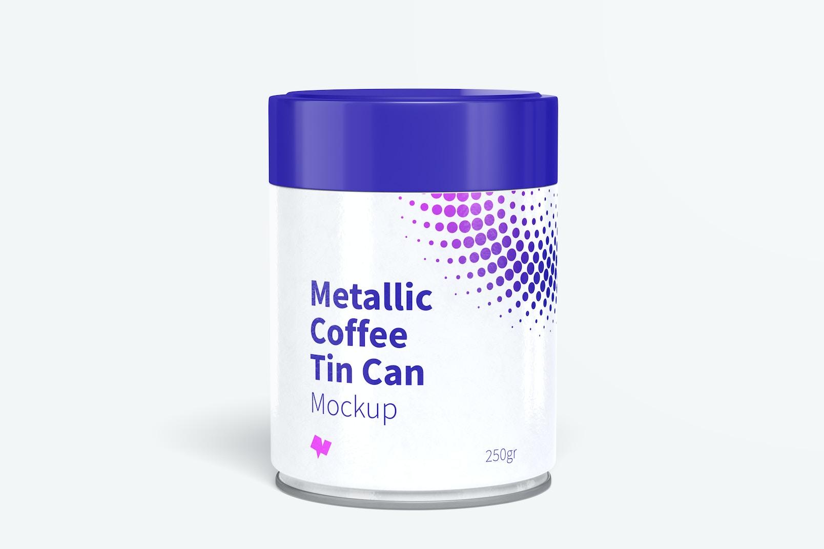 Metallic Coffee Tin Can with Plastic Lid Mockup