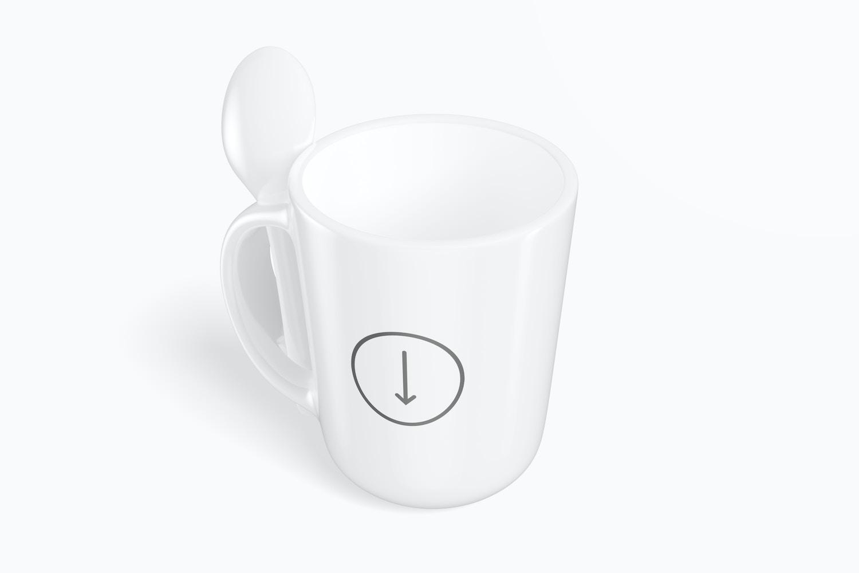12 oz Ceramic Mug with Spoon Mockup, Isometric Right View