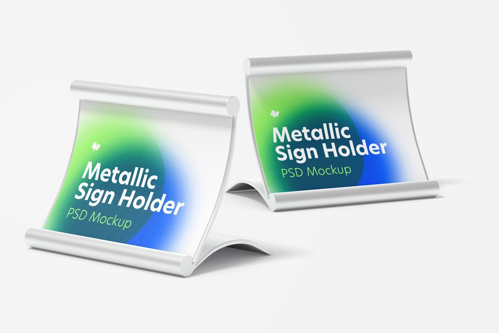 Metallic Table Sign Holders Mockup, Perspective