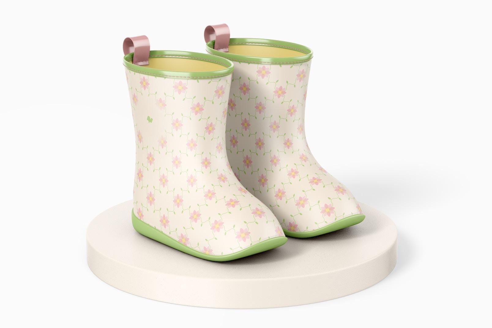 Kids Rain Boots Mockup, on Surface