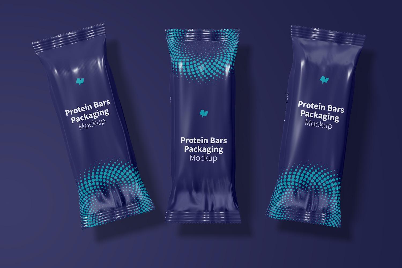 Protein Bars Packaging Set Mockup