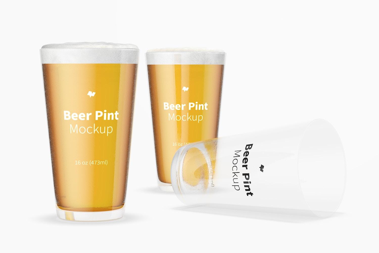 16 oz Beer Pints Mockup, Perspective