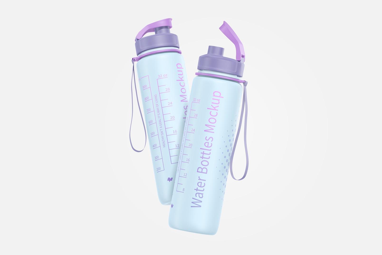 32 oz Water Bottles Mockup, Floating