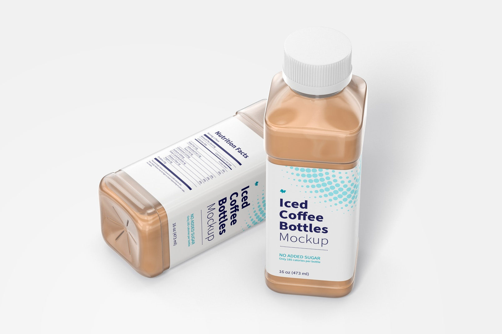 16 oz Iced Coffee Bottles Mockup, Perspective View