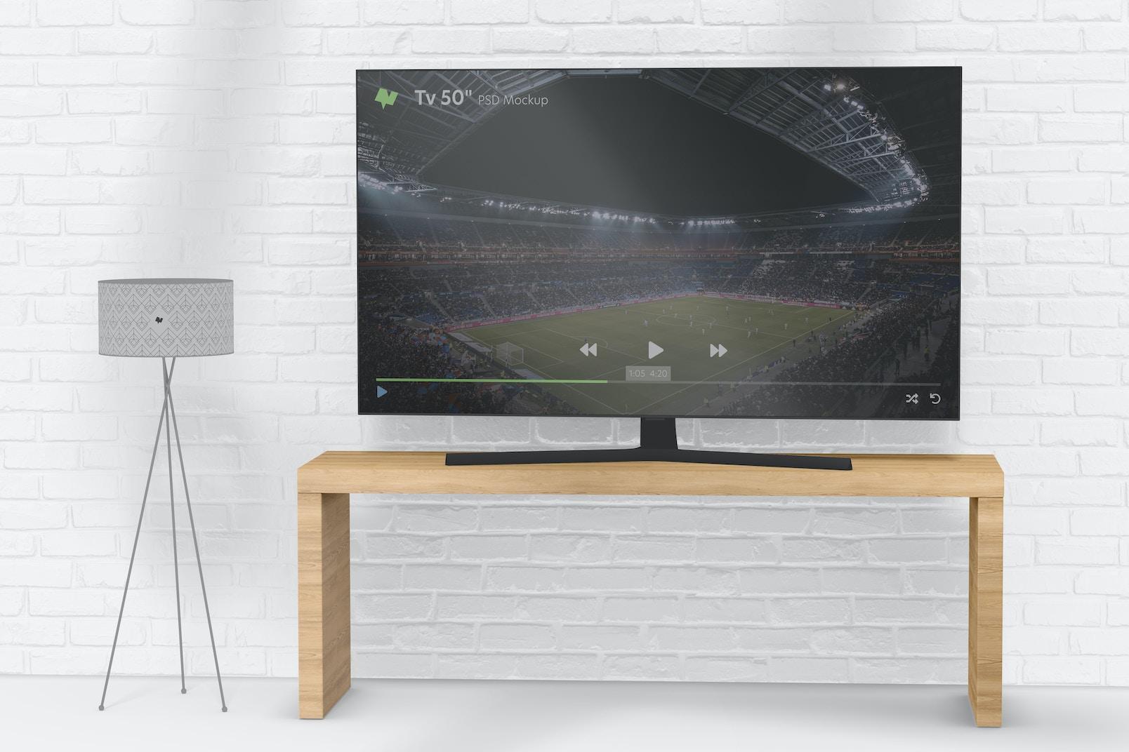"Tv 50"" Mockup, On Surface"