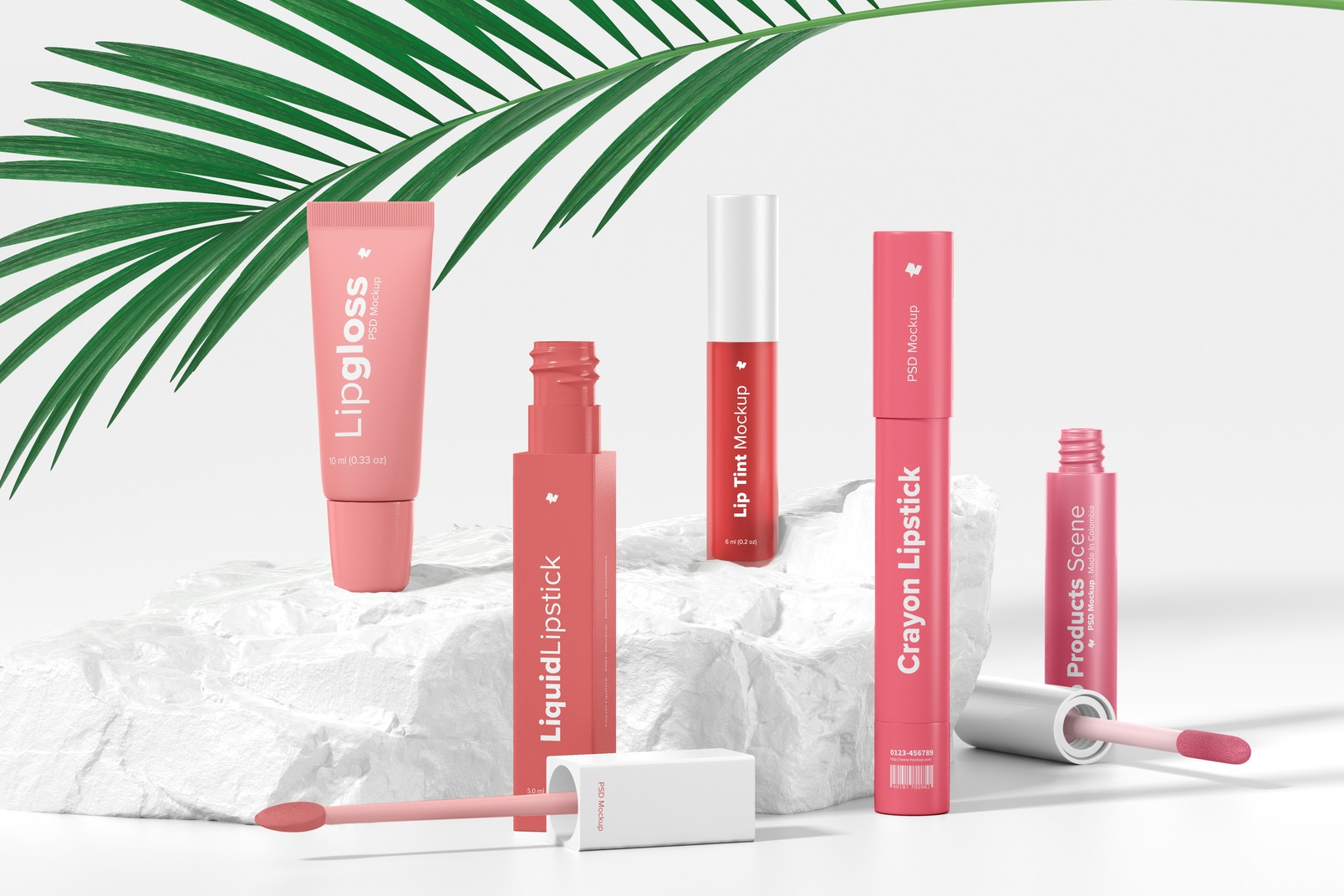 Lip Products Scene Mockup, Front View
