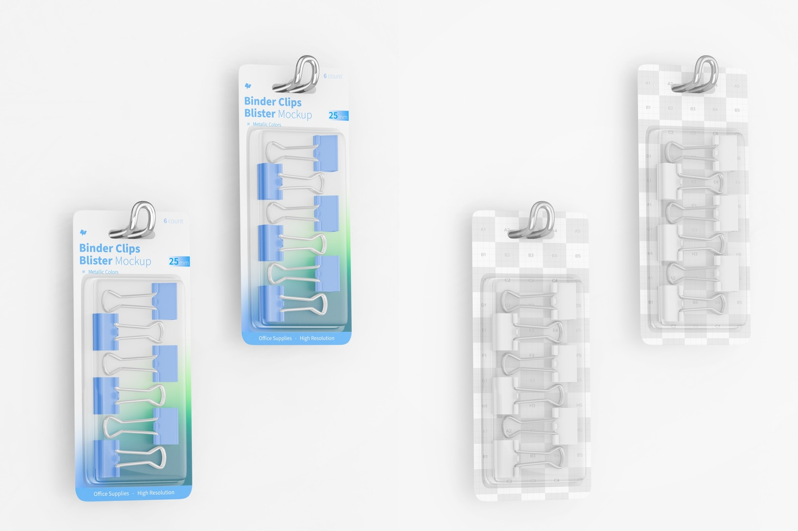 Binder Clips Blister Mockup, Hanging on wall
