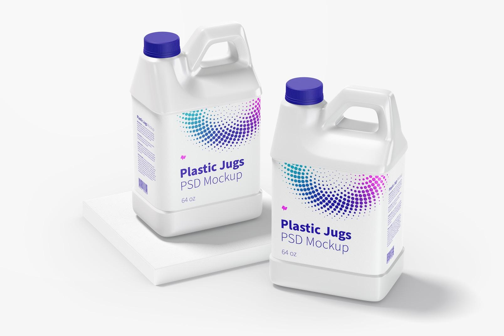 64 oz Plastic Jugs Mockup, Perspective