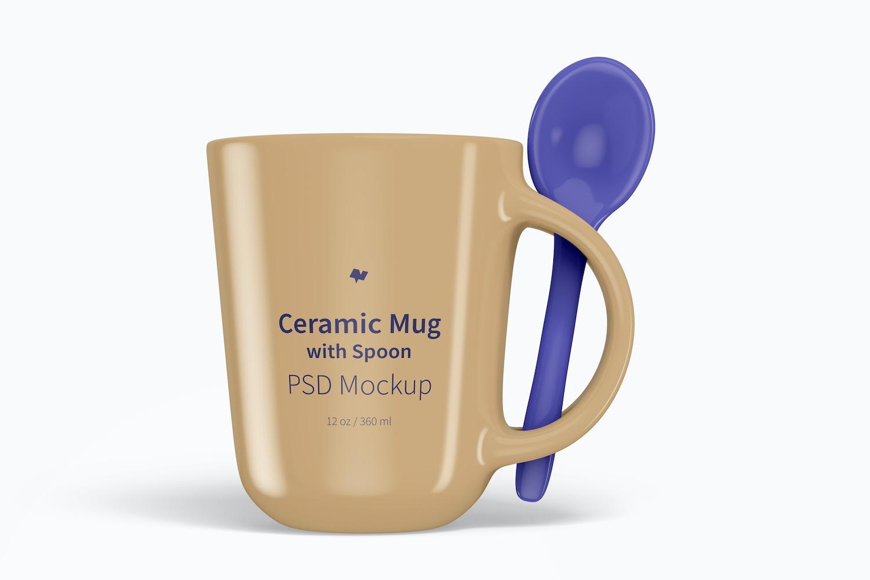 12 oz Ceramic Mug with Spoon Mockup, Front View