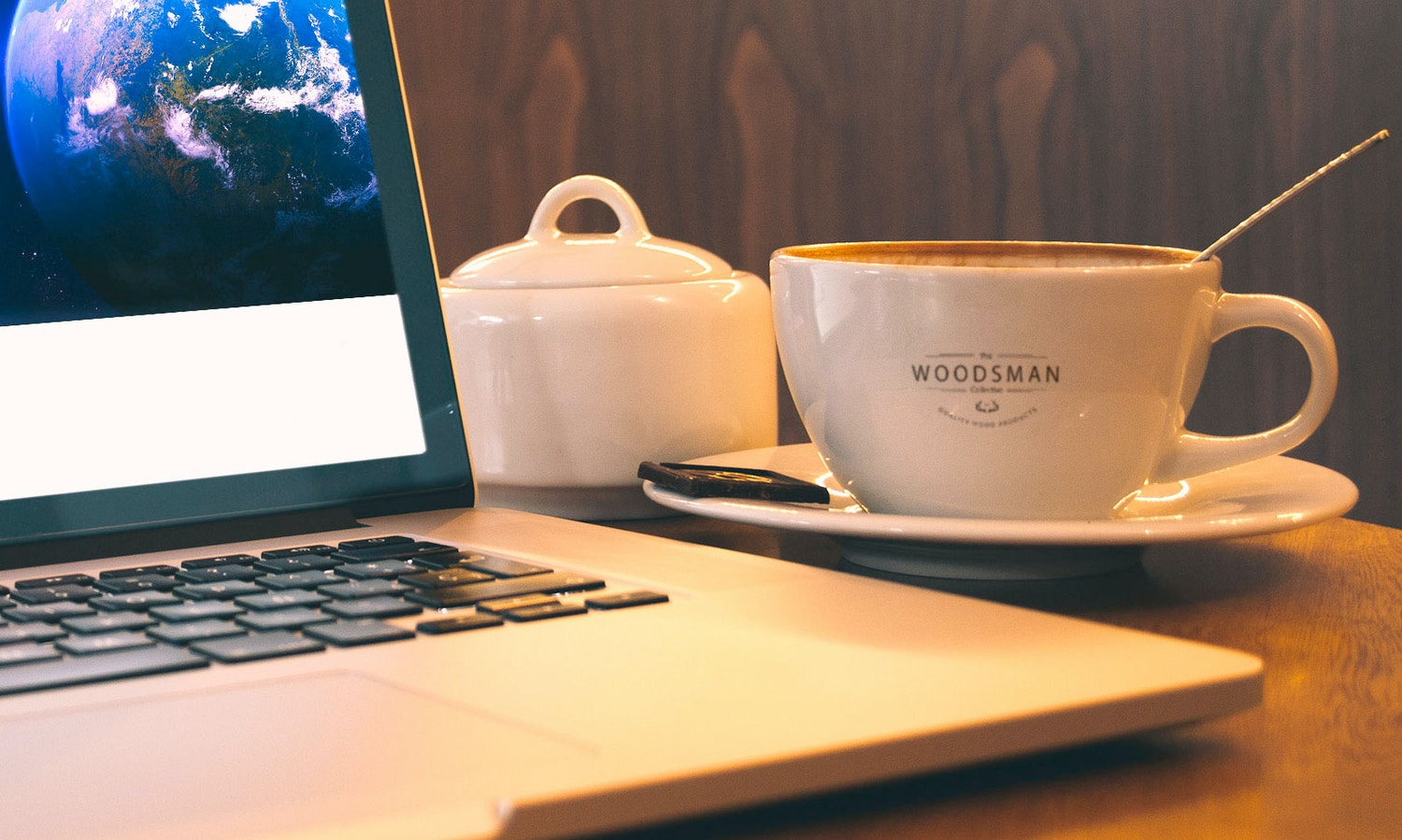 Macbook Pro And Coffee Cup Mockup by Original Mockups on Original Mockups