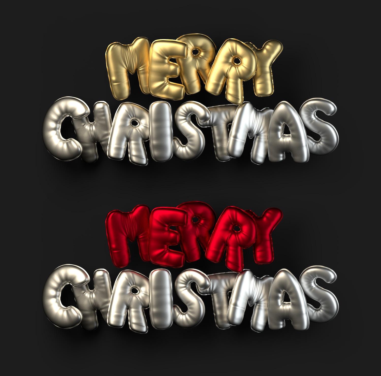 3D Christmas Balloon Words (4) por Original Mockups en Original Mockups
