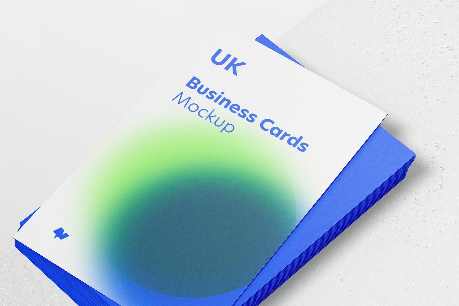 UK Portrait Business Cards Mockup, Close Up
