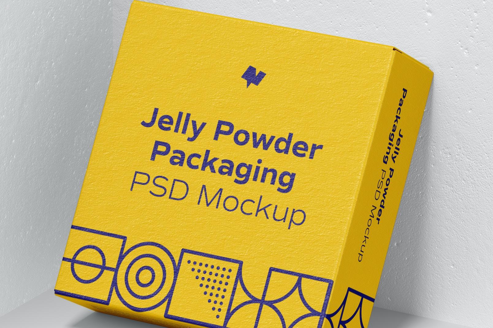Jelly Powder Packaging Mockup, Leaned