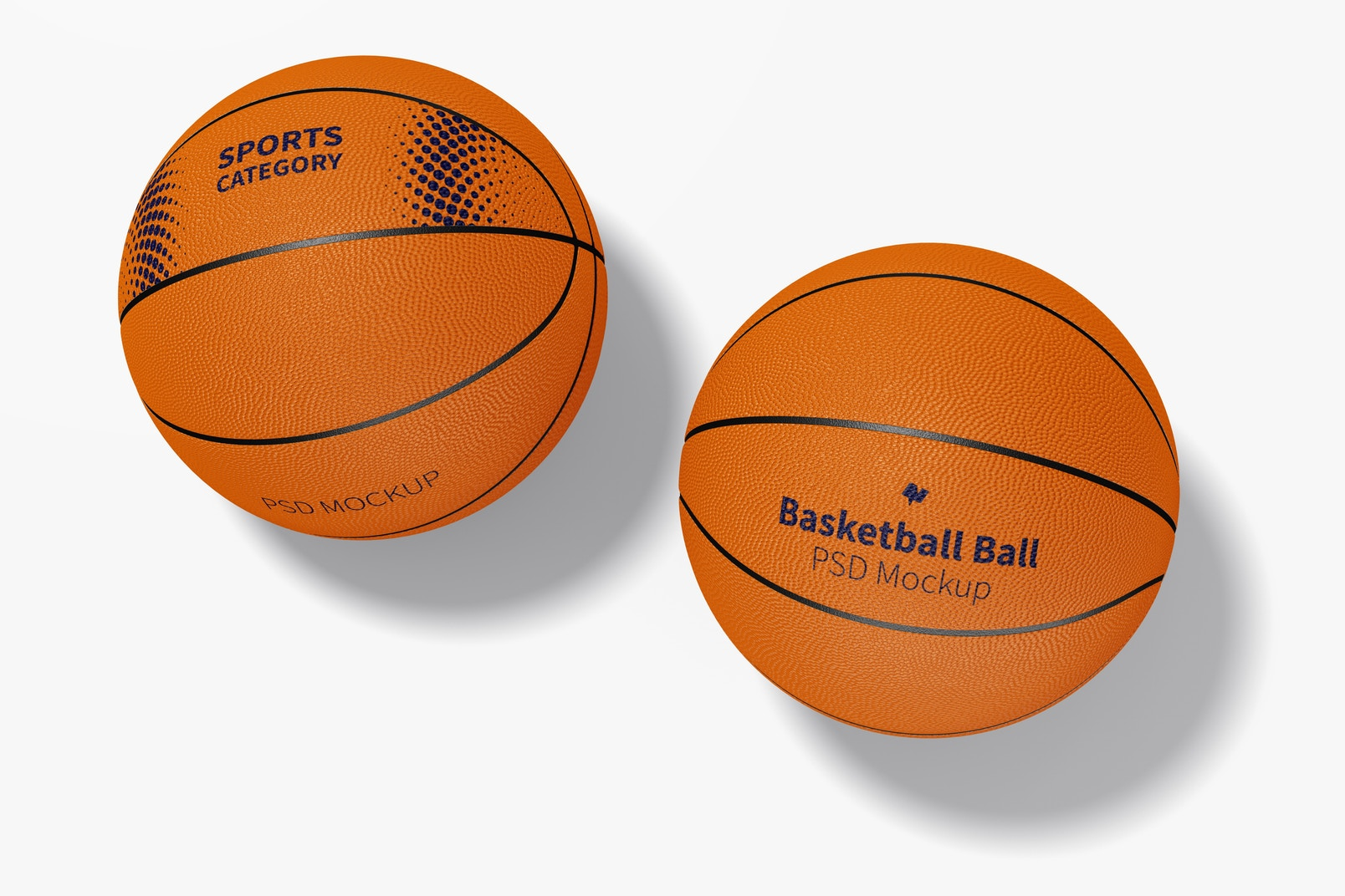 Basketball Balls Mockup, Top View