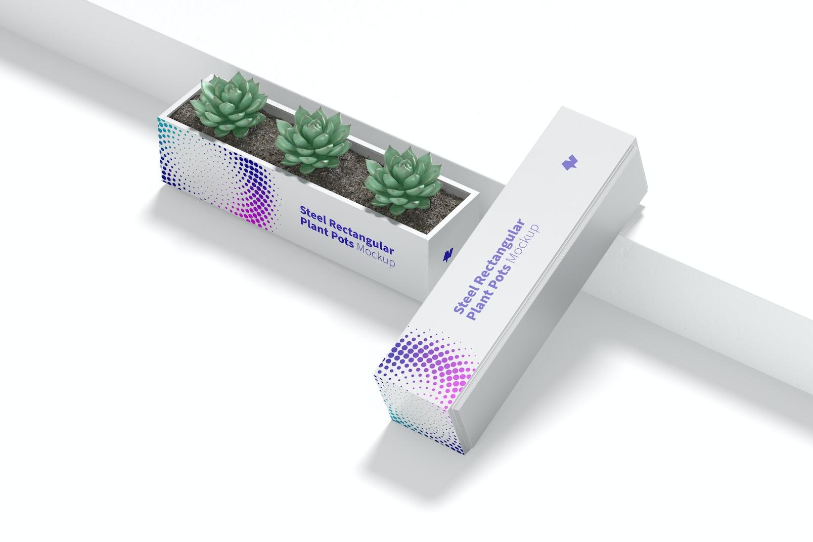 Steel Rectangular Plant Pots Mockup, Top View