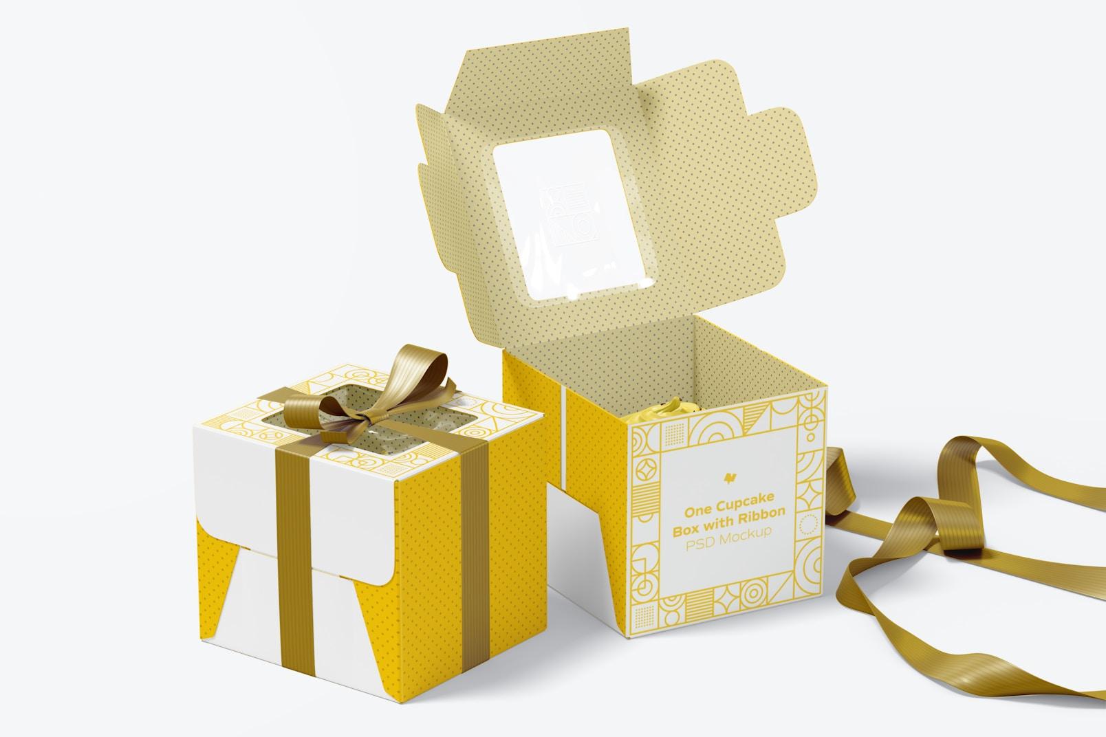 Maqueta de Caja con Lazo de un Cupcake, Abierta y Cerrada