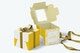 One Cupcake Box with Ribbon Mockup, Opened and Closed