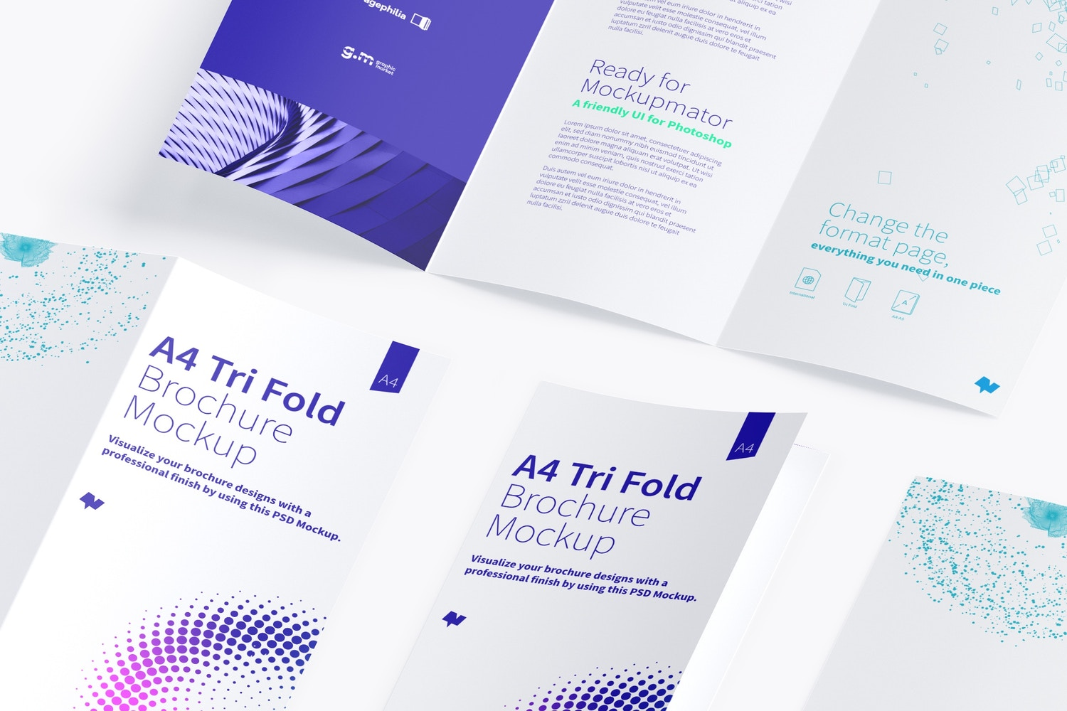 A4 Trifold Brochure Mockup 05 (3) by Original Mockups on Original Mockups