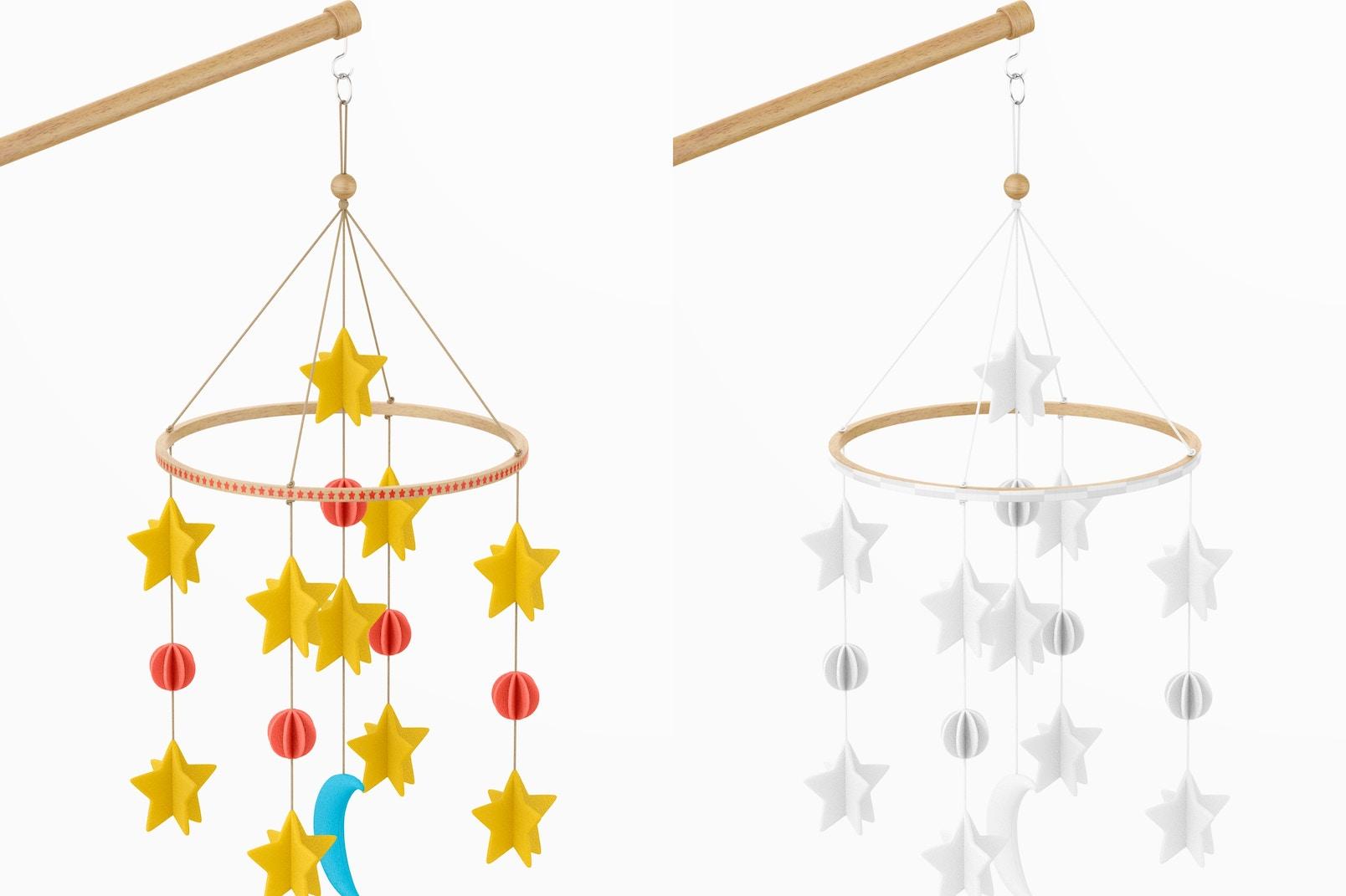 Baby Crib Mobile Mockup, Hanging