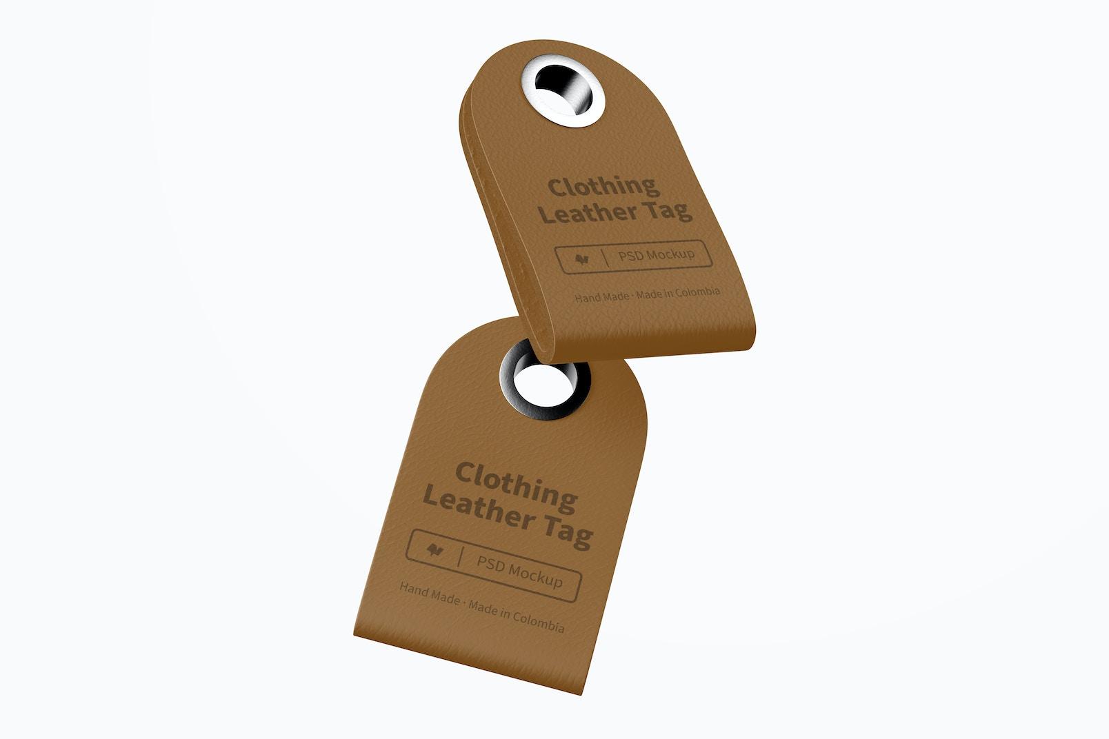 Maqueta de Etiqueta de Cuero para Ropa, Flotando