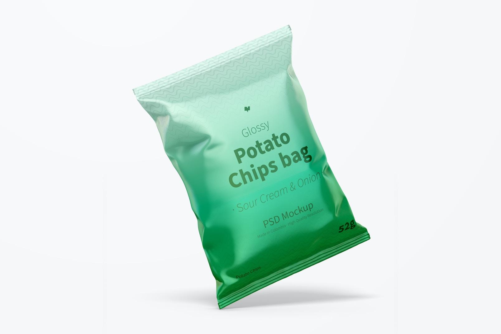 Glossy Chips Bag Mockup, Leaned