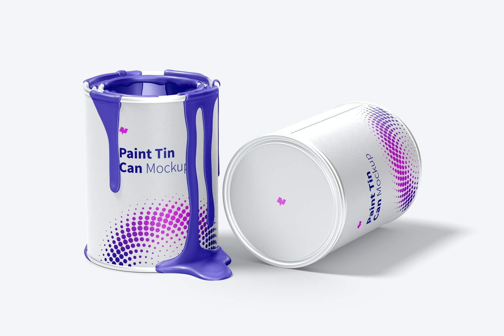 Paint Tin Cans Mockup, Opened