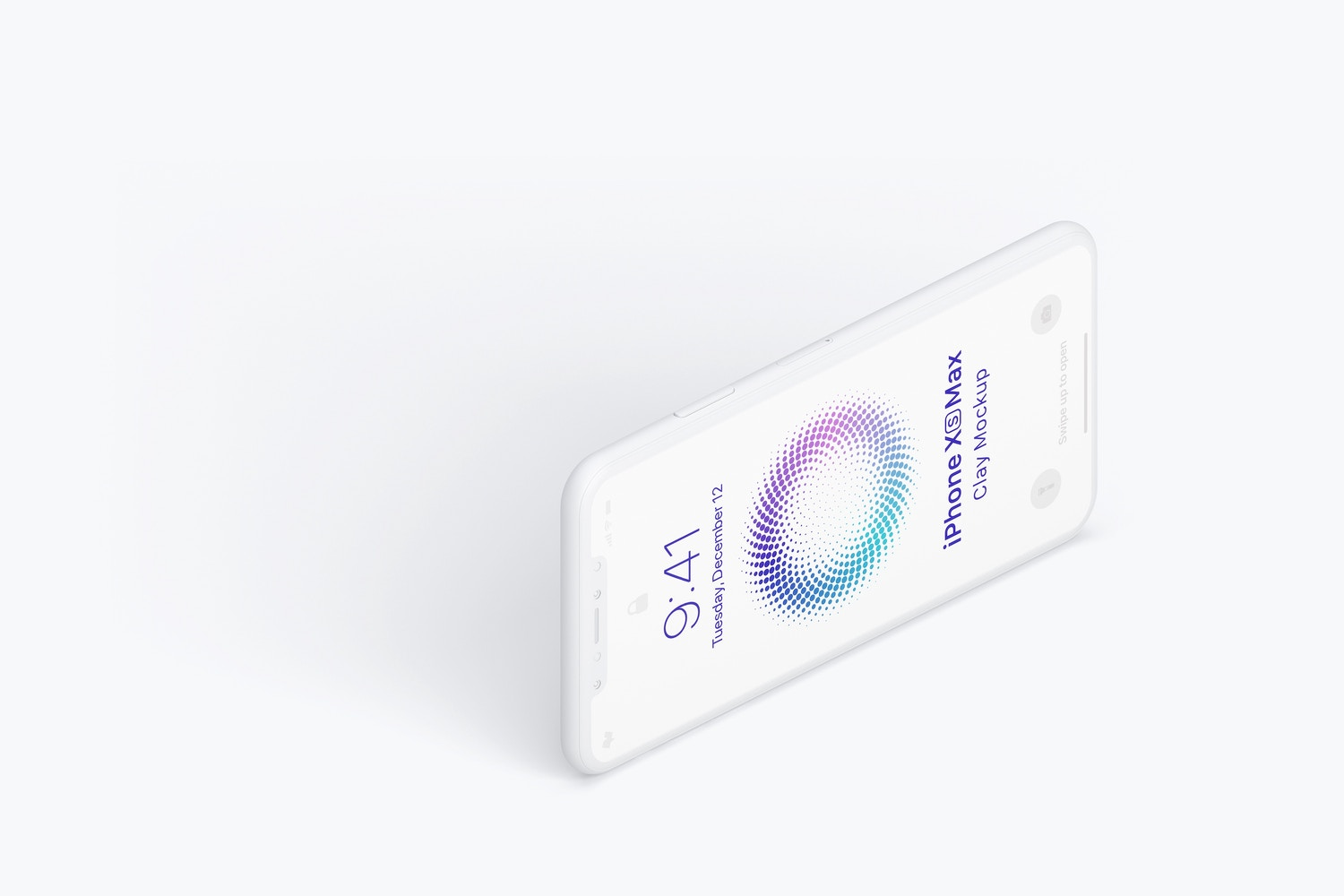 Isometric Clay iPhone XS Max Mockup, Left View 03