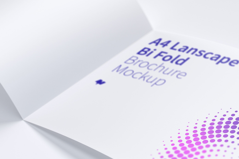 A4 Landscape Bi Fold Brochure Mockup 05