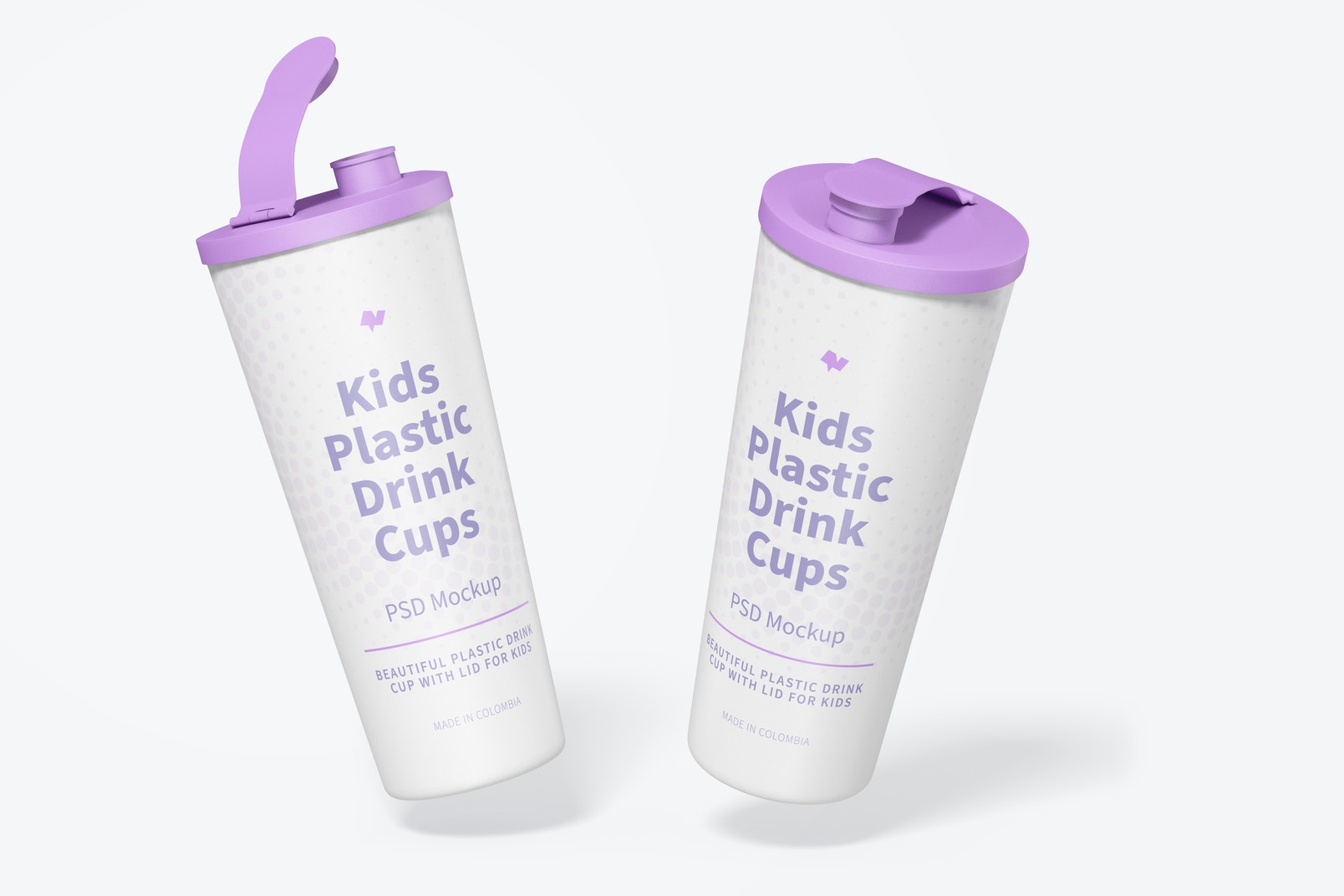 Kids Plastic Drink Cup With Lid Mockup, Falling