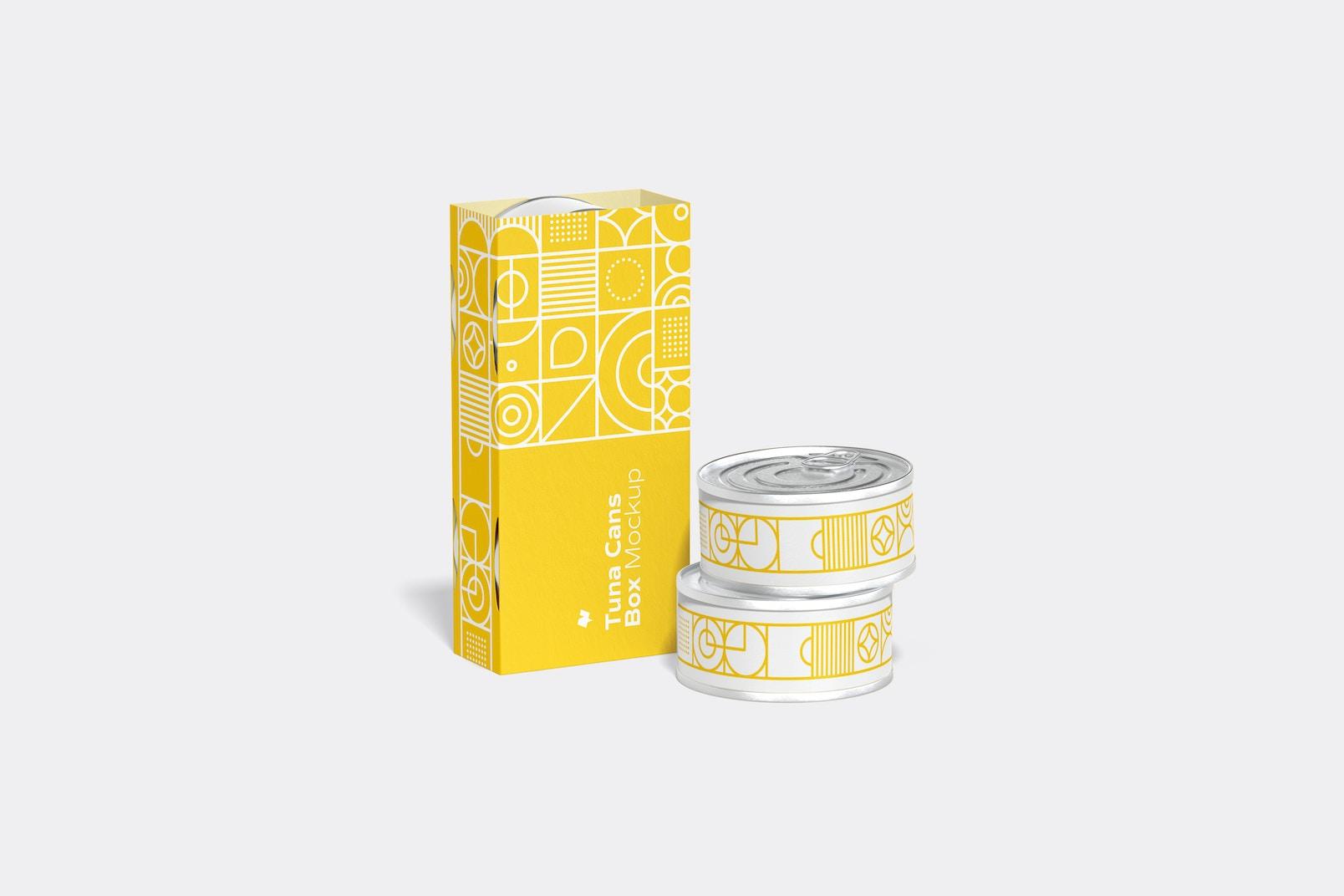 Tuna Cans Box Mockup, Front View