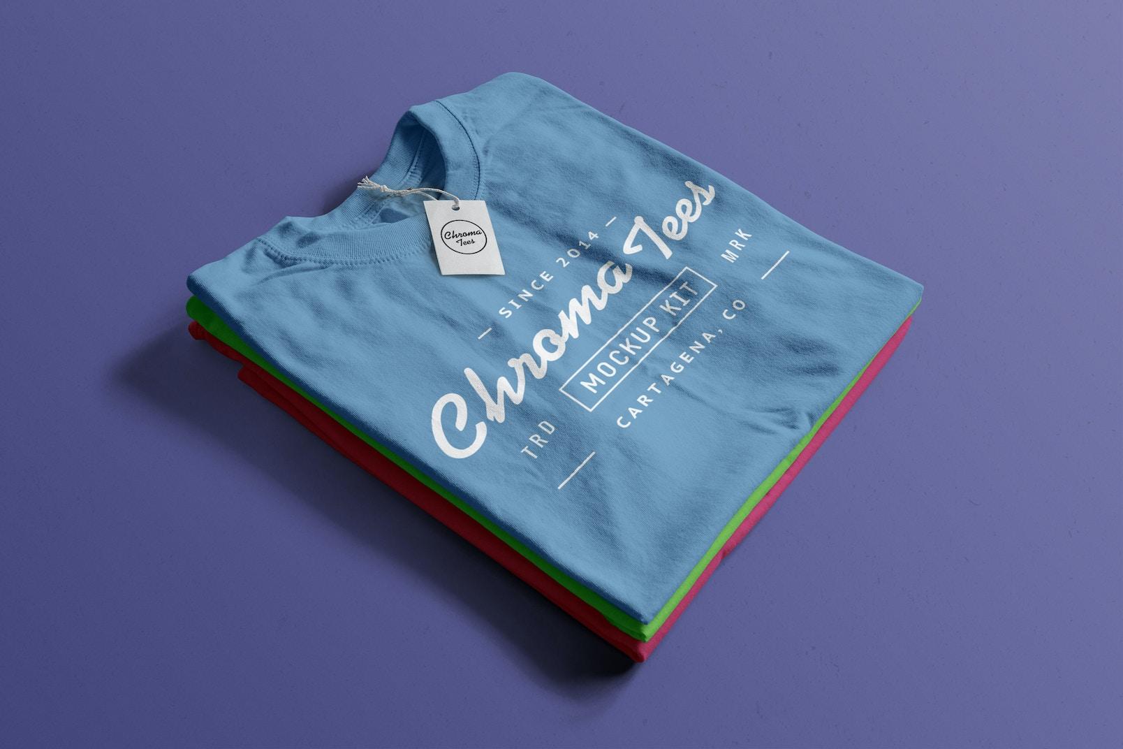 Stack of Folded T-Shirts Mockup 04
