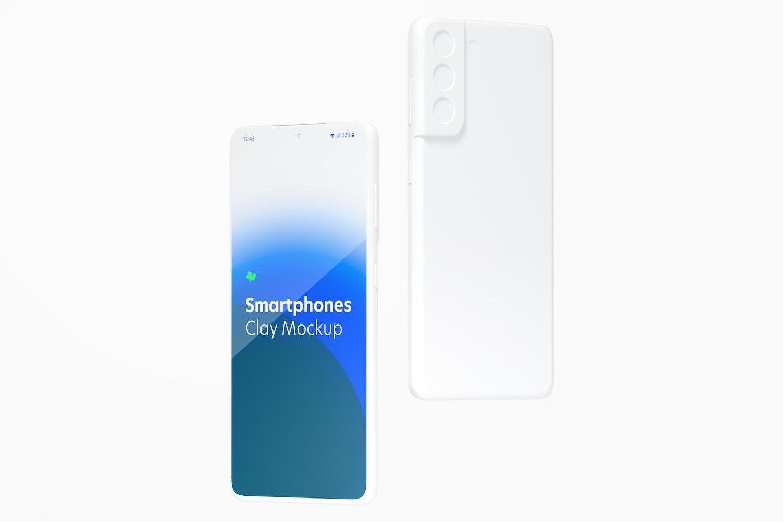 Clay Samsung S21 Mockup, Floating